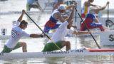 Szeged, 2019. augusztus 21. Korisánszky Dávid (elöl, j) és Mike Róbert (elöl, b) a férfi kenu párosok 200 méteres versenyének elõfutamában a szegedi kajak-kenu világbajnokságon 2019. augusztus 21-én. MTI/Kovács Tamás