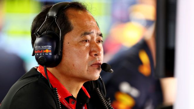 BARCELONA, SPAIN - MAY 11: Toyoharu Tanabe of Honda looks on from the Red Bull Racing garage during qualifying for the F1 Grand Prix of Spain at Circuit de Barcelona-Catalunya on May 11, 2019 in Barcelona, Spain. (Photo by Mark Thompson/Getty Images)