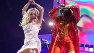 LONDON, ENGLAND - MAY 24: (EDITORIAL USE ONLY) Rita Ora and Charli XCX perform on stage at The O2 Arena on May 24, 2019 in London, England. (Photo by Chiaki Nozu/WireImage)