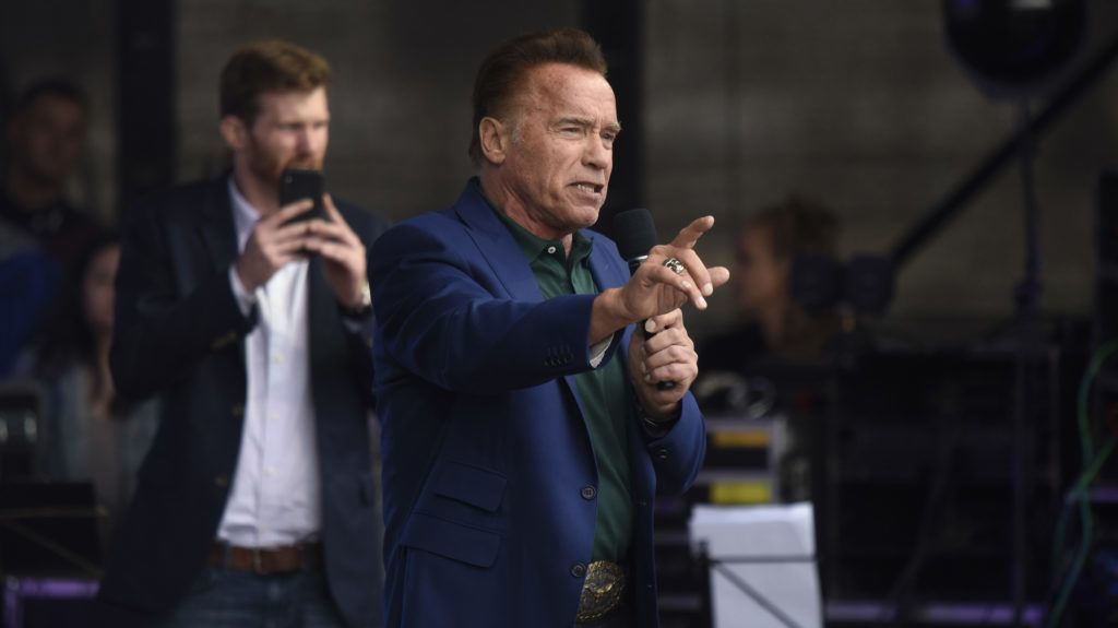 VIENNA, AUSTRIA - MAY 28: Arnold Schwarzenegger, founder of the R20, speaks at the Climate Kirtag portion of the R20 Austrian World Summit on May 28, 2019 in Vienna, Austria. The summit is a gathering of representatives from regions, states and cities from all over the world towards furthering policies towards carbon footprint reduction and increased sustainability.  (Photo by Thomas Kronsteiner/Getty Images)