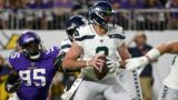 MINNEAPOLIS, MN - AUGUST 18: Paxton Lynch #2 of the Seattle Seahawks drops back with the ball in the third quarter of the preseason game against the Minnesota Vikings at U.S. Bank Stadium on August 18, 2019 in Minneapolis, Minnesota. (Photo by Stephen Maturen/Getty Images)