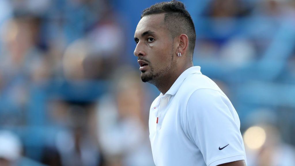 WASHINGTON, DC - AUGUST 04: Nick Kyrgios of Australia reacts to a shot against Daniil Medvedev of Russia during the men's singles final of the Citi Open at Rock Creek Tennis Center on August 04, 2019 in Washington, DC. (Photo by Rob Carr/Getty Images)