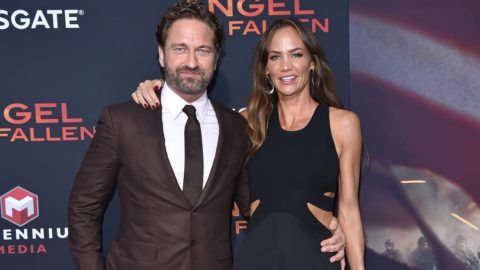"""WESTWOOD, CALIFORNIA - AUGUST 20: Gerard Butler and Morgan Brown attend the LA Premiere of Lionsgate's """"Angel Has Fallen"""" at Regency Village Theatre on August 20, 2019 in Westwood, California. (Photo by Axelle/Bauer-Griffin/FilmMagic)"""