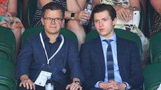 LONDON, ENGLAND - JULY 15:  Tom Holland (R) and his father Dominic Holland attend the men's singles final on day thirteen of the Wimbledon Tennis Championships at the All England Lawn Tennis and Croquet Club on July 15, 2018 in London, England.  (Photo by Karwai Tang/WireImage )