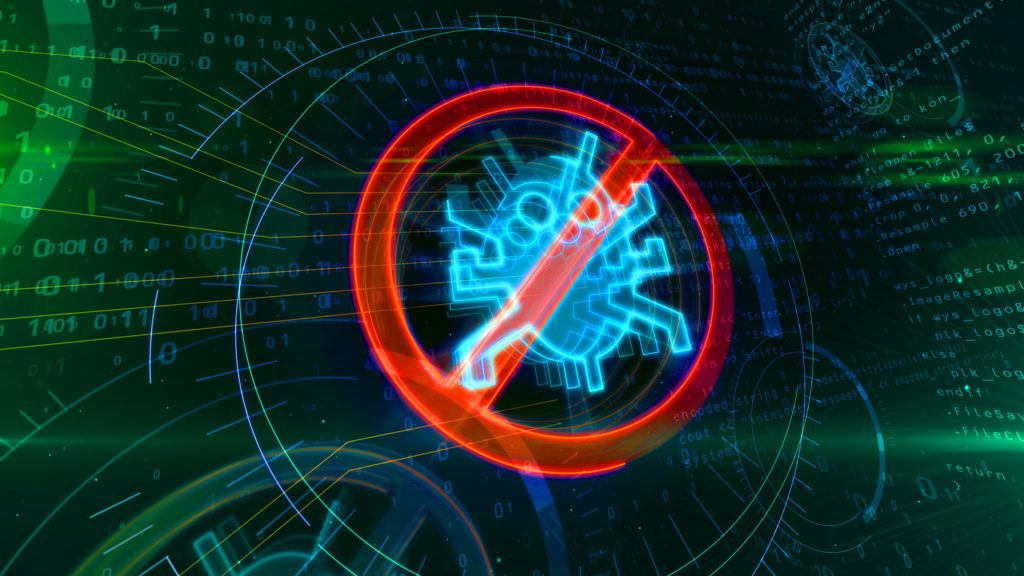 Antivirus symbol on binary background with digital worm ban. Abstract 3D illustration of cyber protection icon.