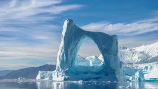 A beautiful arch iceberg in Greenland.