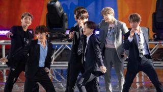 "NEW YORK, NEW YORK - MAY 15: Kim Tae-hyung, Park Ji-min, Jungkook, Suga, Kim Seok-jin, RM and J-Hope of BTS perform on ""Good Morning America"" on May 15, 2019 in New York City.   Noam Galai/Getty Images/AFP"