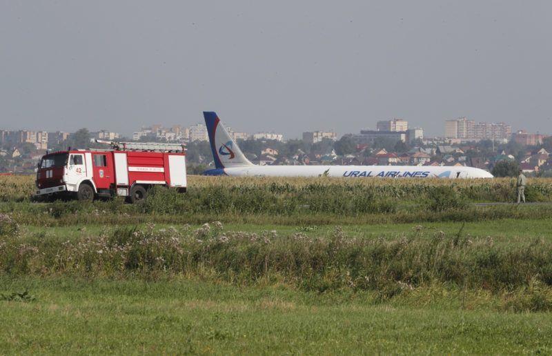 Moszkva, 2019. augusztus 15. Az Ural Airlines orosz légitársaság A321-es utasszállító repülõgépe, miután kényszerleszállást hajtott végre a moszkvai Zsukovszkij repülõtéren 2019. augusztus 15-én. Sajtóhírek szerint a gép egy madárrajjal ütközött a felszállást követõen, a balesetben a fedélzeten tartózkodó 226 utas és hétfõs személyzet közül 23 embert szállítottak kórházba sérülésekkel. MTI/EPA/Szergej Ilnyickij
