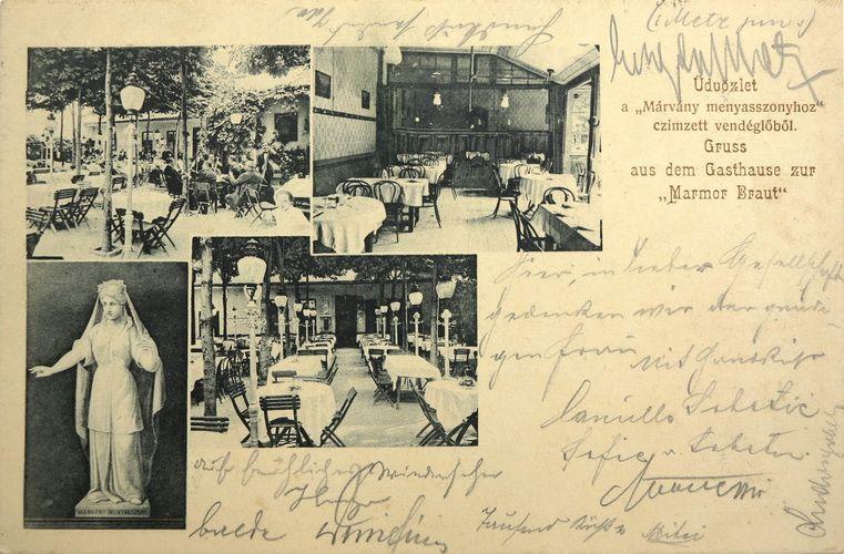 Az épület részletei, illetve a névadó Márványmenyasszony szobra egy századfordulós képeslapon.
