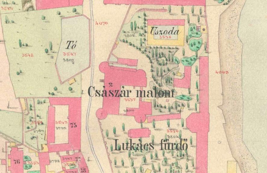 Részlet Buda 1873-ban született térképéről – jól látszik az útnak enyhe ívet adó tó.