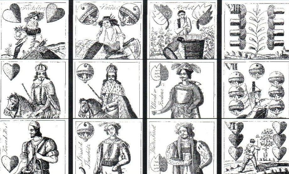 Néhány lap Schneider 1837-ben kiadott paklijából.