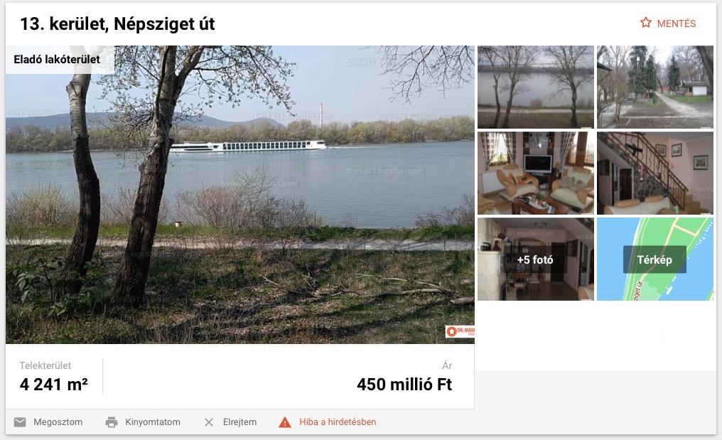 A hirdetések egyikének január 18-i állapota egy képernyőfotón.