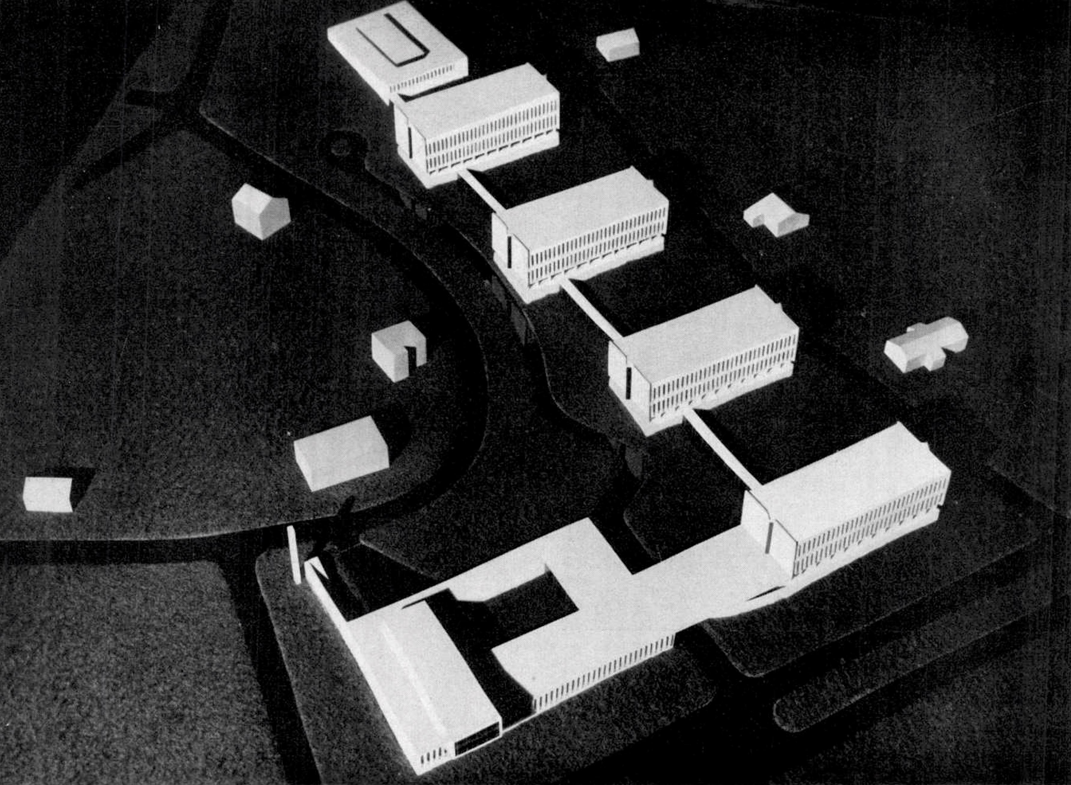 Az épületegyüttes makettjének képe a Magyar Építőművészet 1961/6. számában