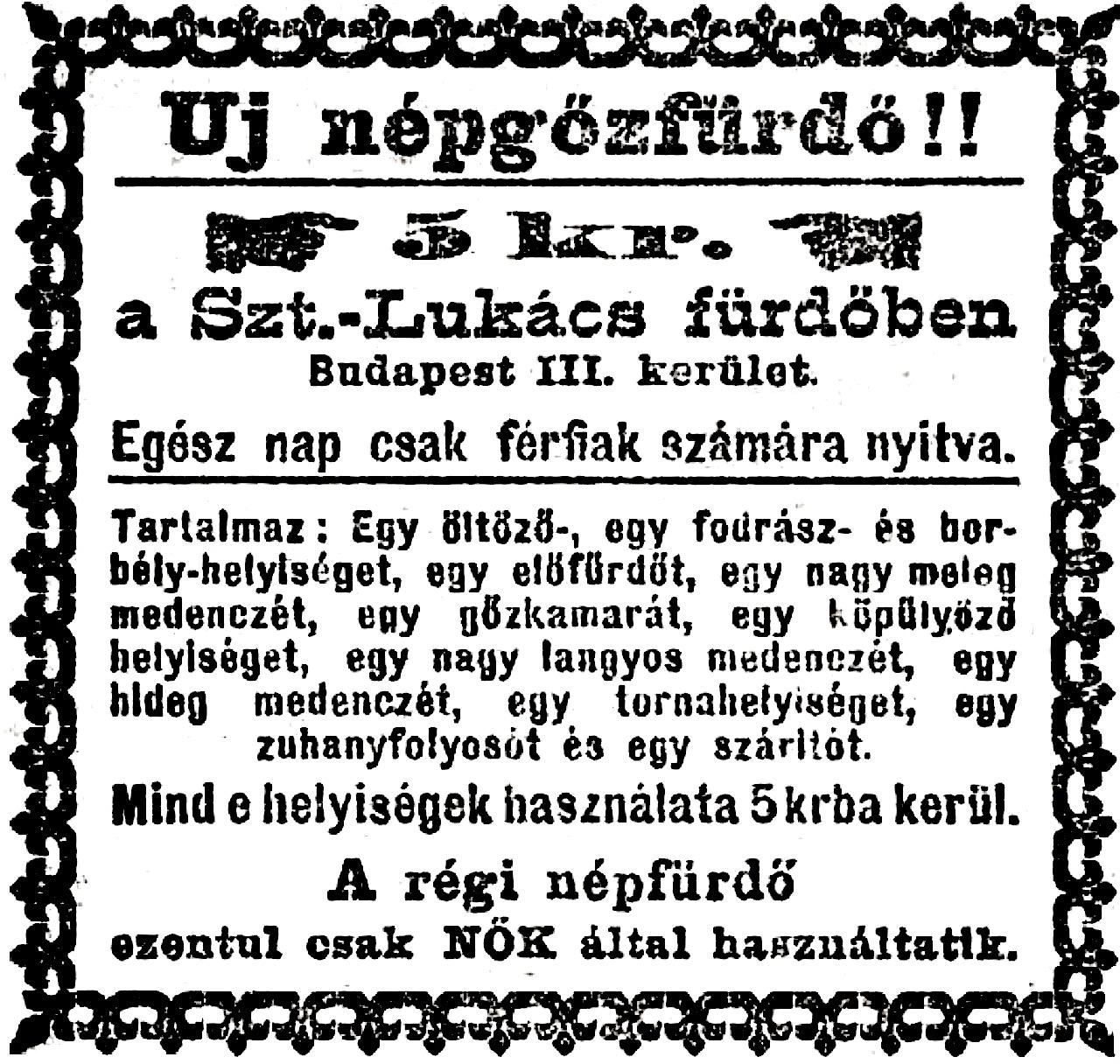 A fürdő hirdetése a Népszava 1895. június 29-i számában.