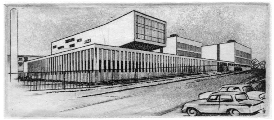 Az épületek egy 1957-ben, az építési makett alapján született grafikán