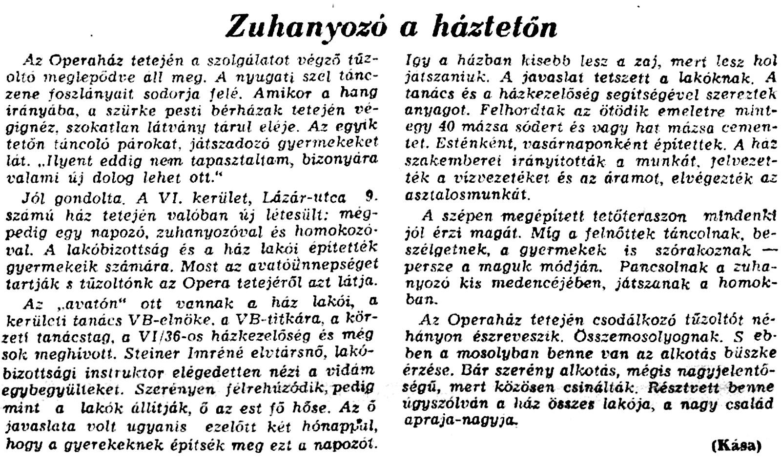 Az Esti Budapest a megnyitásról beszámoló cikke