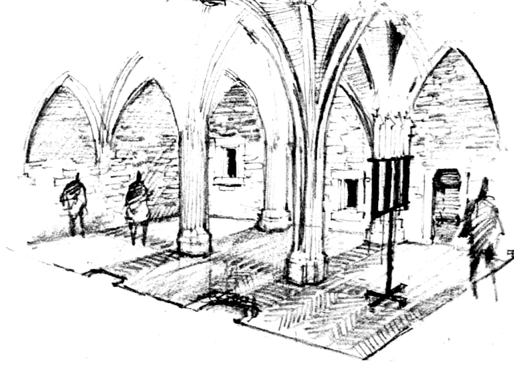 A belső tér egykori képe Pfannl Egon 1965-ös vázlatán