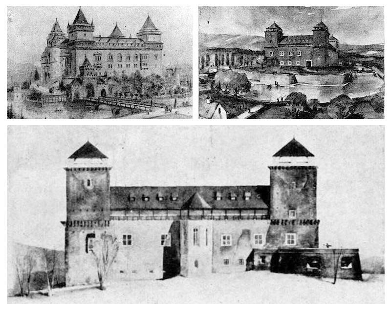 Sztelo Ottó 1920-ben született, a harmincas évvel korábbi álmot tükröző rajza (balra fenn), illetve Sedlmayer János a Műegyetemen 1954-ben leadott diplomaterve (jobbra és lenn)