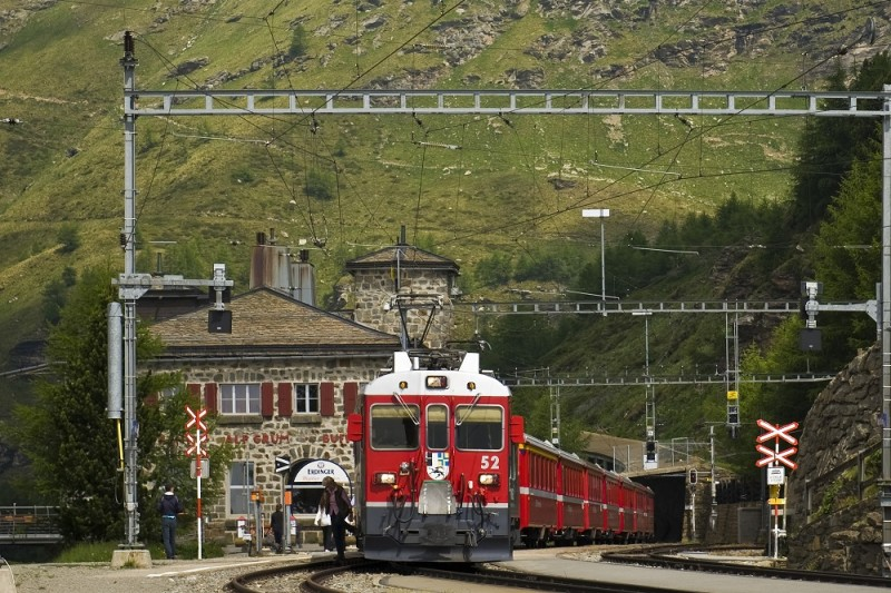 Switzerland, Canton Grisons, Bernina express, Alp Grum railway station