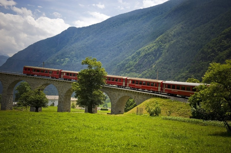 Switzerland, Canton Grisons, Bernina express, Brusio viaduct