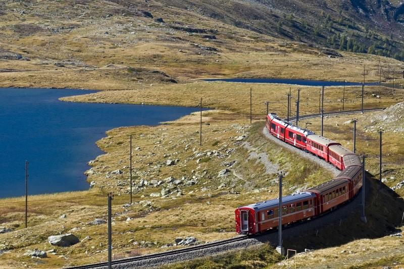 Bernina express train, Bernina pass, Switzerland