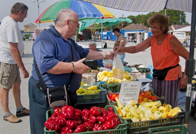 Gyõr, 2012. augusztus 22. Kékesi Gyuláné õstermelõ szolgál ki egy vevõt a gyõri piacon 2012. augusztus 22-én. A gyõri kereskedõk érdekképviselete Civil garancia a helyi terményre címmel indított kampányt a zöldség- és gyümölcskereskedõk megkülönböztetése érdekében. Az akció keretében az egyesület képviselõi és a vevõk a termelés helyszínén is ellenõrizhetik, hogy valójában milyen zöldséget, gyümölcsöt nevel a termelõ. MTI Fotó: Krizsán Csaba