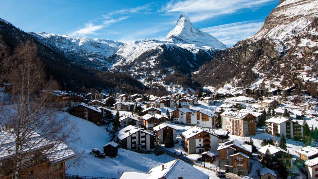 The beautiful village of Zermatt in Switzerland, with Matterhorn in the background