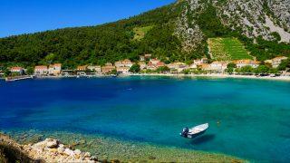 View of the bay of Trstenik, in the Peljesac peninsula in southern Dalmatia, Croatia
