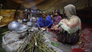 Szrinagar, 2017. május 17. A bakarval kasmíri nomád törzshöz tartozó fiatal lányok ebédelnek egy sátorban a Dzsammu és Kasmír indiai szövetségi állam nyári fõvárosa, Szrinagar közelében 2017. május 17-én. A Himalája és a Pir Pandzsal-hegység közti területen õshonos pásztornép tagjai a téli hónapokban a melegebb, a tavaszi és nyári hónapokban a hûvösebb tájak felé vándorolnak. (MTI/EPA/Faruk Hán)