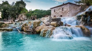 Natural spa with waterfalls in Tuscany, Italy.