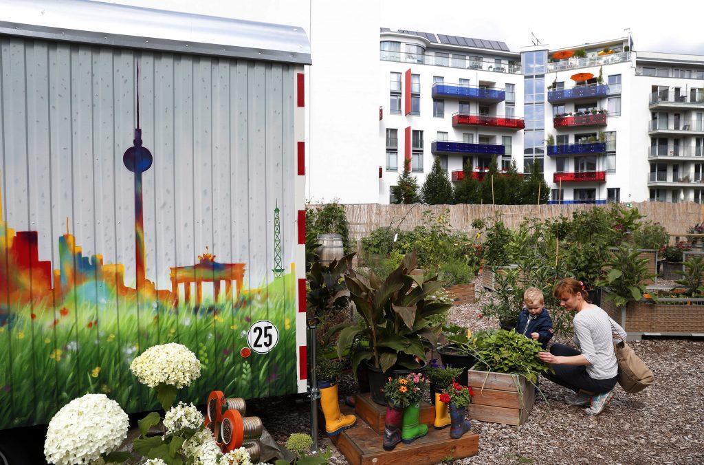 Berlin, 2017. július 16. Egy asszony és gyereke nézi a növényeket a berlini Vattenfall városi közösségi kertben 2017. július 14-én. A Vattenfal skandináv energetikai cég két kommunális zöldterületet nyitott meg Berlinben, ahol a városlakók egy földterületen osztozva szabadon kertészkedhetnek, megtermeszthetik maguknak a friss zöldséget, gyümölcsöket és a fûszernövényeket. (MTI/EPA/Felipe Trueba)