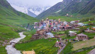 Ushguli - the highest inhabited village in Europe. Caucasus, Upper Svaneti - UNESCO World Heritage Site. Georgia.