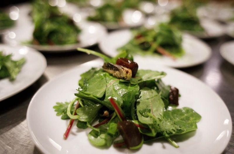 New York, 2017. november 15. Sáskával felszolgált kevert saláta Joseph Yoon dél-koreai-amerikai szakács Brooklyn Kitchen nevû New York-i éttermében 2017. november 13-án. Az elõkelõ étteremben Yoon látványos ételekkel kedveskedik vendégeinek, akik kedvükre válogathatnak skorpió és különféle rovarok, mint például lódarazsak, lisztbogár lárvák, tücskök és szöcskék felhasználásával készült fogások közt. A kulináris élményt kínáló séf a rendhagyó alapanyag-választást a személyes alkotói szenvedélyen túl az emberi rovarfogyasztás hosszú távú ökológiai elõnyeivel indokolja. (MTI/EPA/Justin Lane)