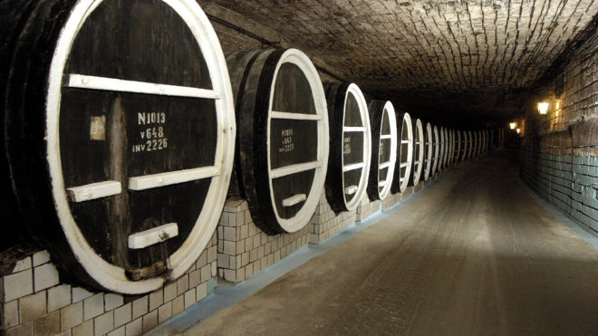 """A galery of oak barrels with wine at Milestii Mici wineyard, 25 kms north from Chisinau city, 15 September 2006. The wines stored here are made of various years crops, from 1968 to 1991. The """"Golden Collection"""" of Milestii Mici contains over two million bottles wines dated from the period of Moldovan winemaking prosperity. AFP PHOTO VADIM DENISOV / AFP PHOTO / VADIM DENISOV"""