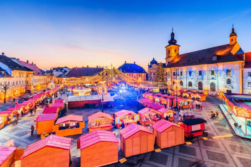 Sibiu, Romania. Panoramic view of the Christmas Market. Transylvania, Romania.