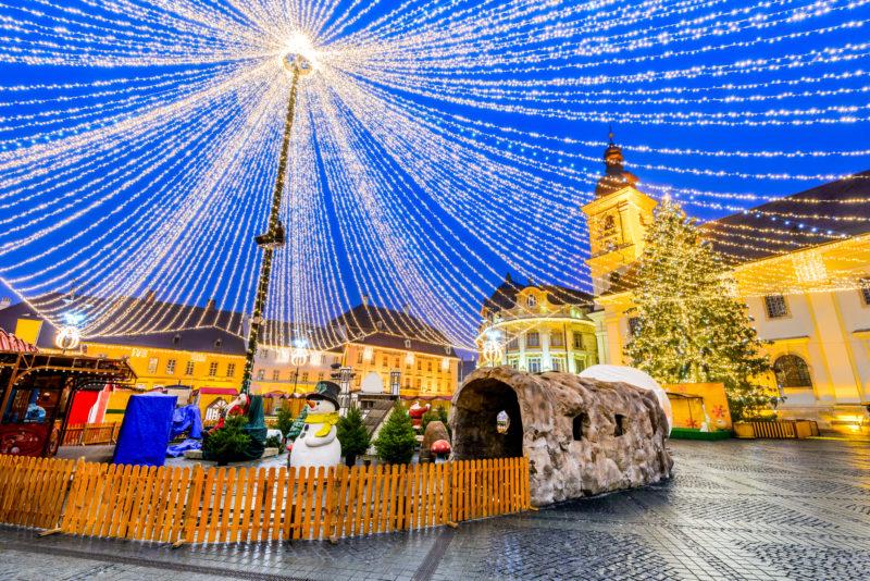 Sibiu Christmas Market winter tale, largest in Romania, Transylvania landmark.