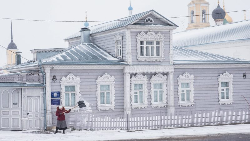 Kolomna, 2016. február 12. Havazik a Moszkvától 116 kilométerre délkeletre fekvõ Kolomnában 2016. február 12-én. III. Vaszilij moszkvai nagyfejedelem 1525 és 1531 között megépíttette a városban a moszkvai Kreml mását. (MTI/EPA/Szergej Ilnyickij)