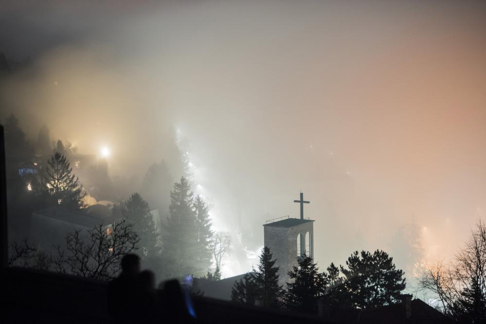 Pécs, 2018. február 5. A pécsi Pálos Szent Imre-plébániatemplom ködben 2018. február 5-én. MTI Fotó: Sóki Tamás