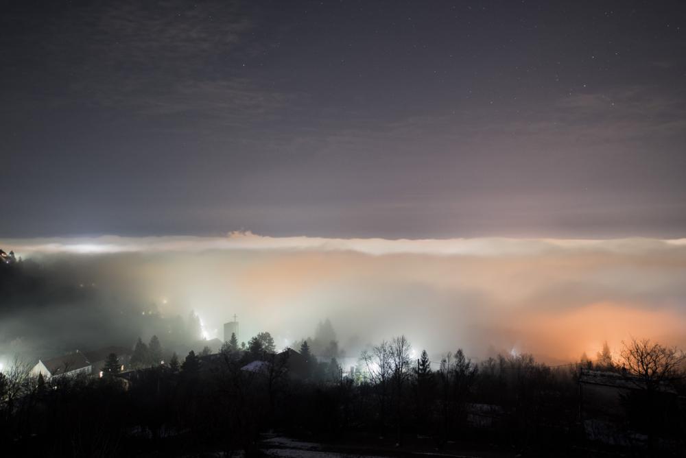 Pécs, 2018. február 5. Köd Pécs felett 2018. február 5-én. MTI Fotó: Sóki Tamás
