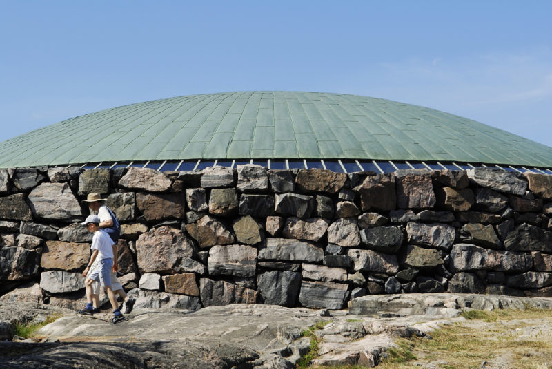 Finland, Helsinki, the roof of Temppeliaukio Church, a Lutheran church excavated and built into the rock in 1969 by architects Timo and Tuomo Suomalainen, Lutherinkatu 3