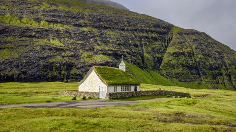 Small village church in Saksun on the island of Streymoy, Faroe Islands, Denmark