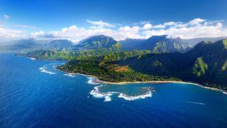 Beautiful aerial view of spectacular Na Pali coast, Kauai, Hawaii