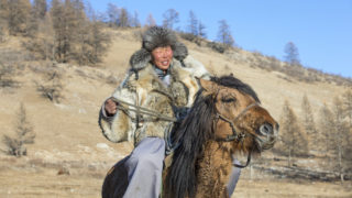 Mongolian nomad man wearing a wolf skin clothing riding a horse in a steppe of Northern Mongolia