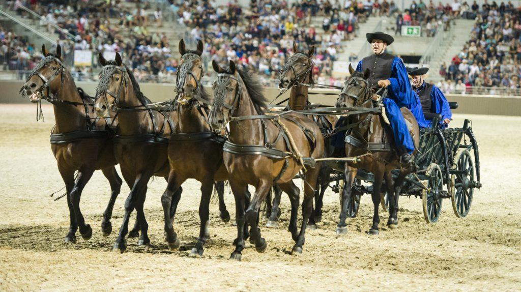 Szilvásvárad, 2018. augusztus 18. Fogatok bemutatója az új lipicai lovasközpont megnyitóján Szilvásváradon 2018. augusztus 18-án. MTI Fotó: Komka Péter