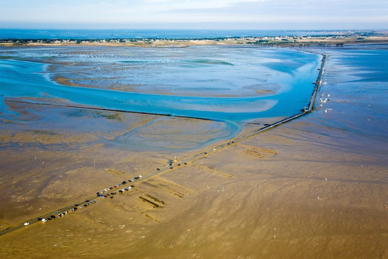 France, Vendee, Beauvoir sur mer, Le Passage du Gois is a natural, periodically flooded passage leading to the island of Noirmoutier (aerial view)