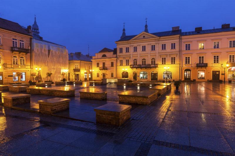 Rain on Market Square in Piotrkow Trybunalski. Piotrkow Trybunalski, Lodz, Poland.