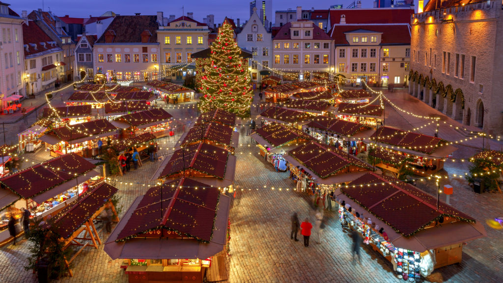 Christmas Fair and Christmas tree on the Town Hall Square. Tallinn. Estonia.