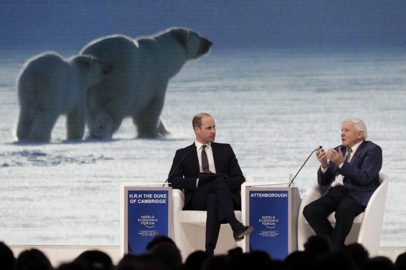 Davos, 2019. január 22. Sir David Attenborough angol természettudós és ismeretterjesztõ dokumentumfilmes (j) és Vilmos cambridge-i herceg, Károly brit trónörökös idõsebb fia pódiumbeszélgetésen vesz részt a Világgazdasági Fórum 49. davosi találkozójának kezdõnapján, 2019. január 22-én. A névadó svájci nonprofit alapítvány szervezte négynapos tanácskozáson a világ vezetõ politikai, társadalmi és gazdasági döntéshozói a legégetõbb globális kérdéseket vitatják meg, illetve határozzák meg a jövõre vonatkozó legfontosabb feladatokat. MTI/AP/Markus Schreiber