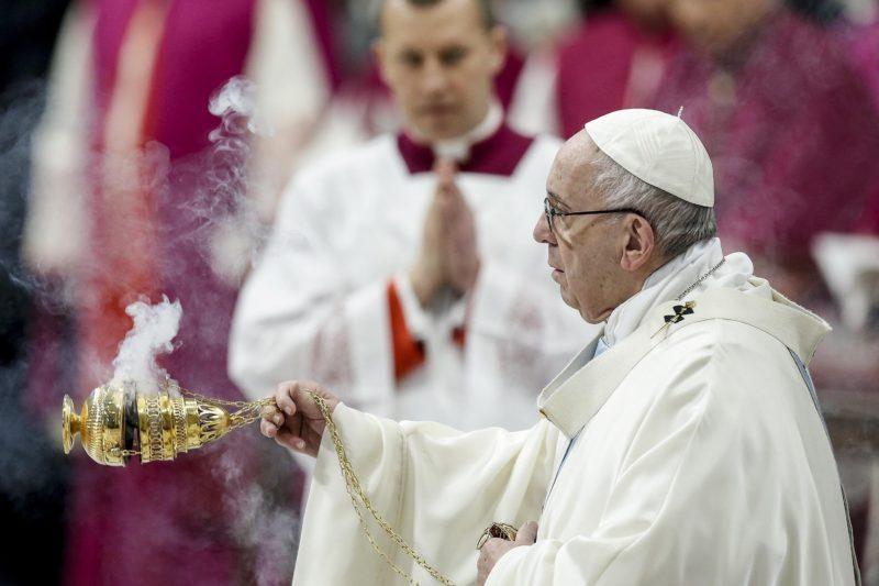 Vatikánváros, 2019. január 1. Ferenc pápa újévi misét pontifikál a vatikáni Szent Péter-bazilikában 2019. január 1-jén. MTI/EPA/ANSA/Fabio Frustaci