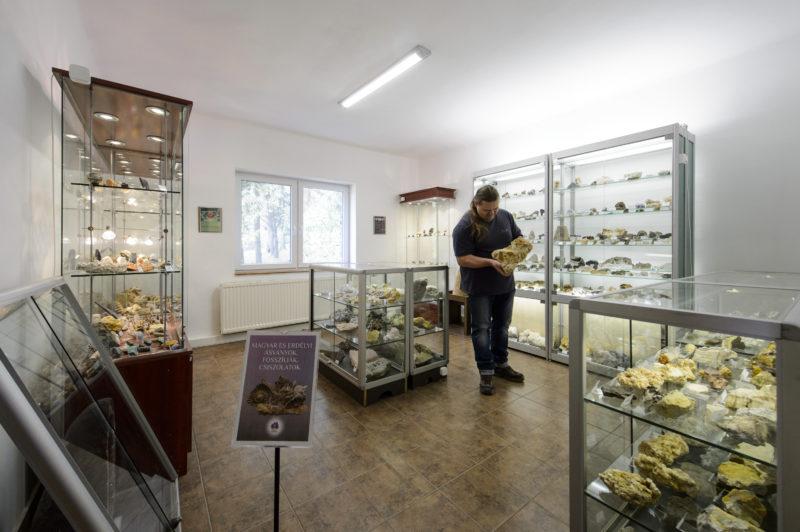 Mátraszentimre, 2019. április 17. A Mátra Ásványház egyik kiállítóterme Mátraszentimrén 2019. április 17-én. A múzeum vitrinjeiben közel 1600 ásványt és ásványtársulást, valamint 150 õsmaradványt láthatnak az érdeklõdõk. MTI/Komka Péter
